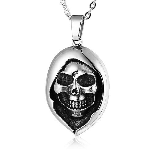 27dde484a248a ANAZOZ Stainless Steel Pendants Men Skull Pendant Necklace Silver ...
