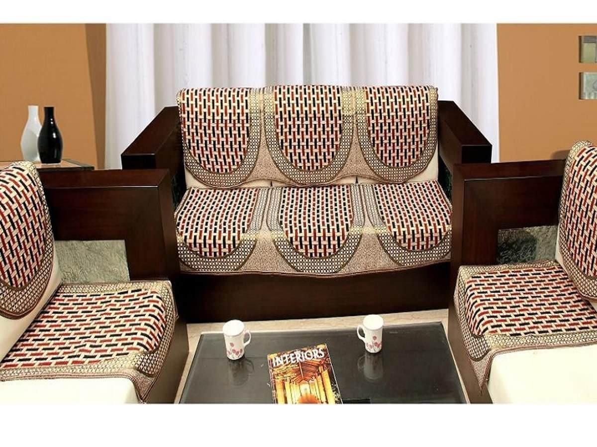 Buy Eleganthomes Cotton Brick Design Sofa Cover Set Maroon Gold