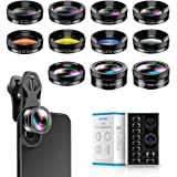 Apexel 11 in 1 Phone Camera Lens Kit - Wide Angle Lens & Macro Lens+Fisheye Lens/ND32/kaleidoscope/CPL/Color Lens Compatible