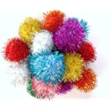 "Sparkle Ball Cat Toys - 20 Pack 33mm, 1.5"" Glitter Pom Poms"