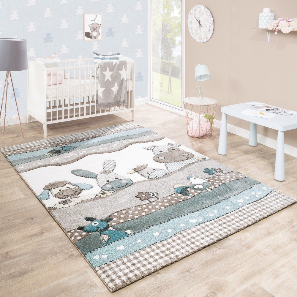 Children's Rug Nursery Contour Cut Farm Animals Beige Cream Pastel Colours, Size:80x150 cm Paco Home
