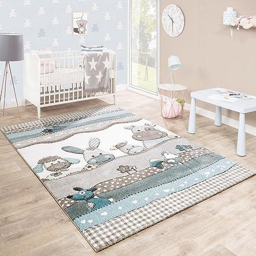 Paco Home Kinderteppich Kinderzimmer Konturenschnitt Farm Tiere Beige Creme  Pastellfarben, Grösse:120x170 Cm