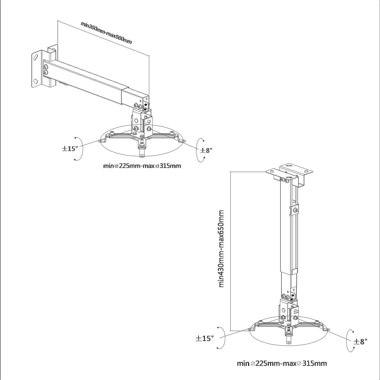 wei/ß PureMounts PM-SPIDER-30W Deckenhalterung f/ür Beamer Traglast: max 13,5kg universeller Montagebereich: 54-320 mm Deckenabstand: 380-580mm drehbar: 360/°