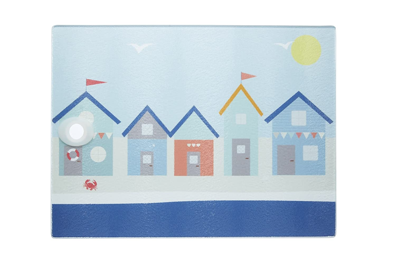 KitchenCraft \'Coastal\' Toughened Glass Worktop Saver, 40 x 30 cm (16 ...