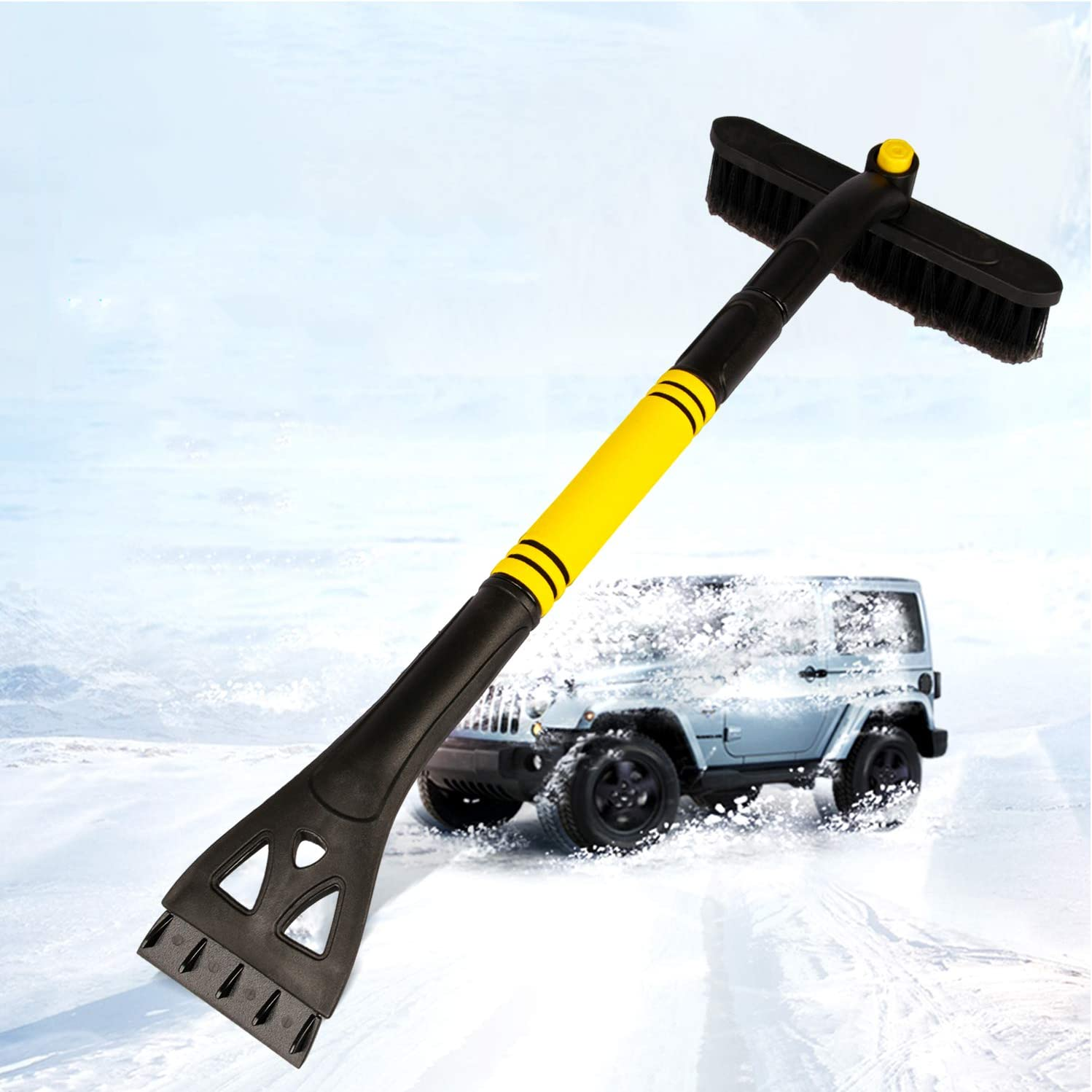 SEAAES Ice Scraper with Brush for Car Windshield Extendable Snow Brush with Foam Grip for Car Auto SUV Truck Windows
