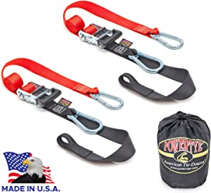 "PowerTye 1½"" x 6½ft Heavy-Duty Ratchet Tie-Downs, Made in USA with Soft-Tye and Carabiner Hooks + Storage Bag, Red/Black (pair)"