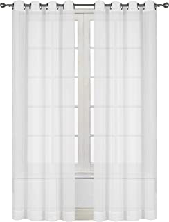 Amazoncom Hlcme 2 Piece Sheer Voile Window Curtain Grommet Panels