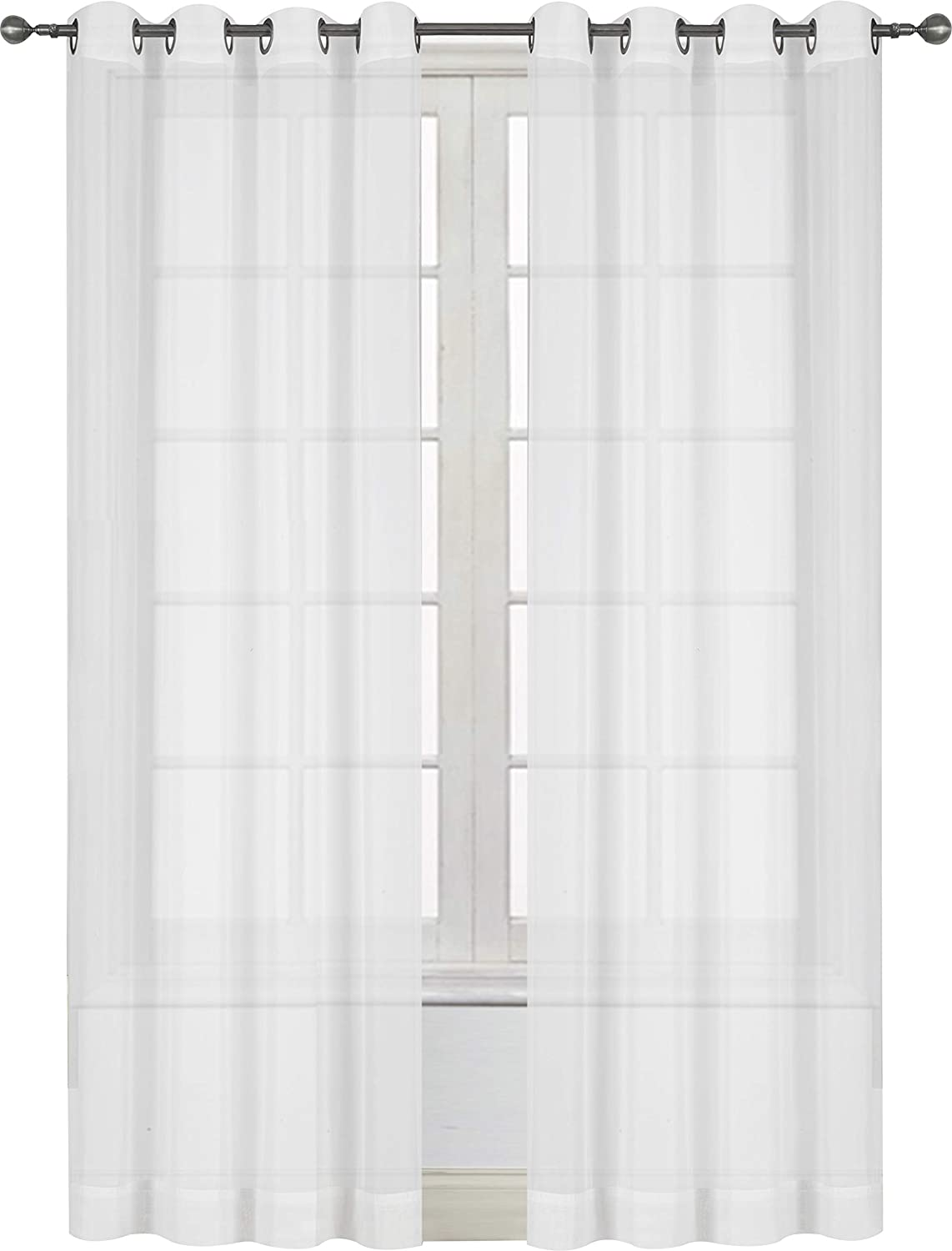 5b64f5b0421 Amazon.com  Utopia Bedding Premium White Sheer Curtains - Sheer Voile - White  Luxurious - High Thread Window Grommet Curtains - 2 Panel Set - 54 by 84 ...