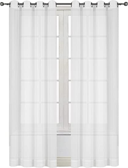 Utopia Bedding Premium White Sheer Curtains Sheer Voile White Luxurious High Thread Window Grommet Curtains 2 Panel Set 54 By 84 Inches