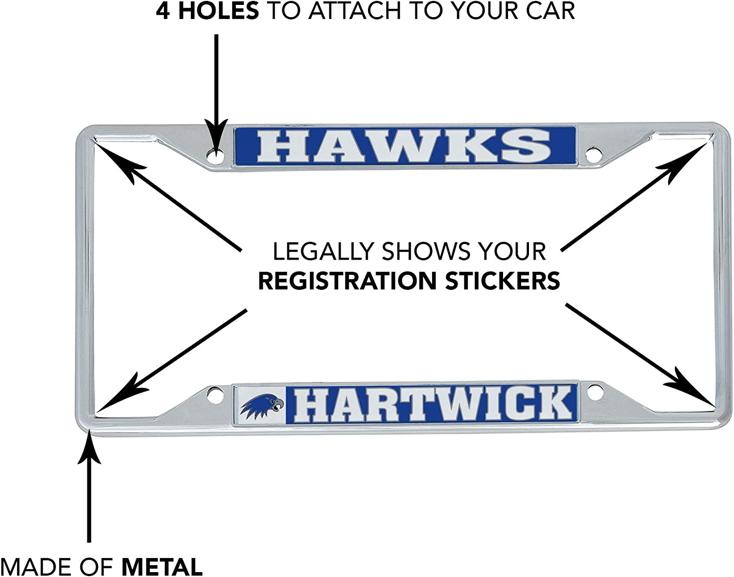 Desert Cactus Hartwick College Hawks NCAA Metal License Plate Frame for Front Back of Car Officially Licensed Mascot