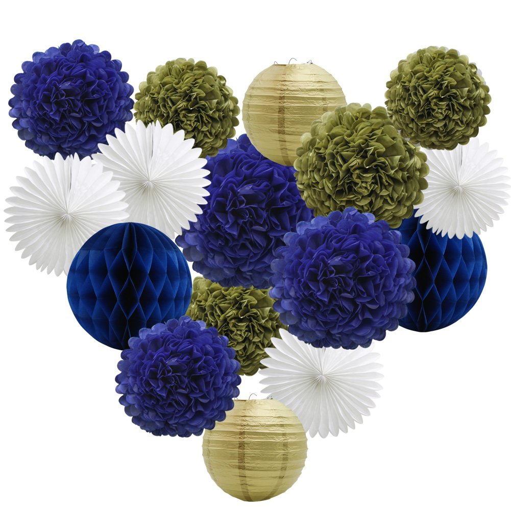 16pcs Party Decoration Supplies Set of Tissue Honeycomb Balls Lanterns Paper Pom Poms Flowers Hanging Fan for Room Wedding Anniversary Birthday Graduation Backdrop Decoration (Navy Blue White Gold) by ADLKGG