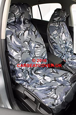 URBAN GREY Camouflage Waterproof Car Seat Covers - 2 x Fronts ...