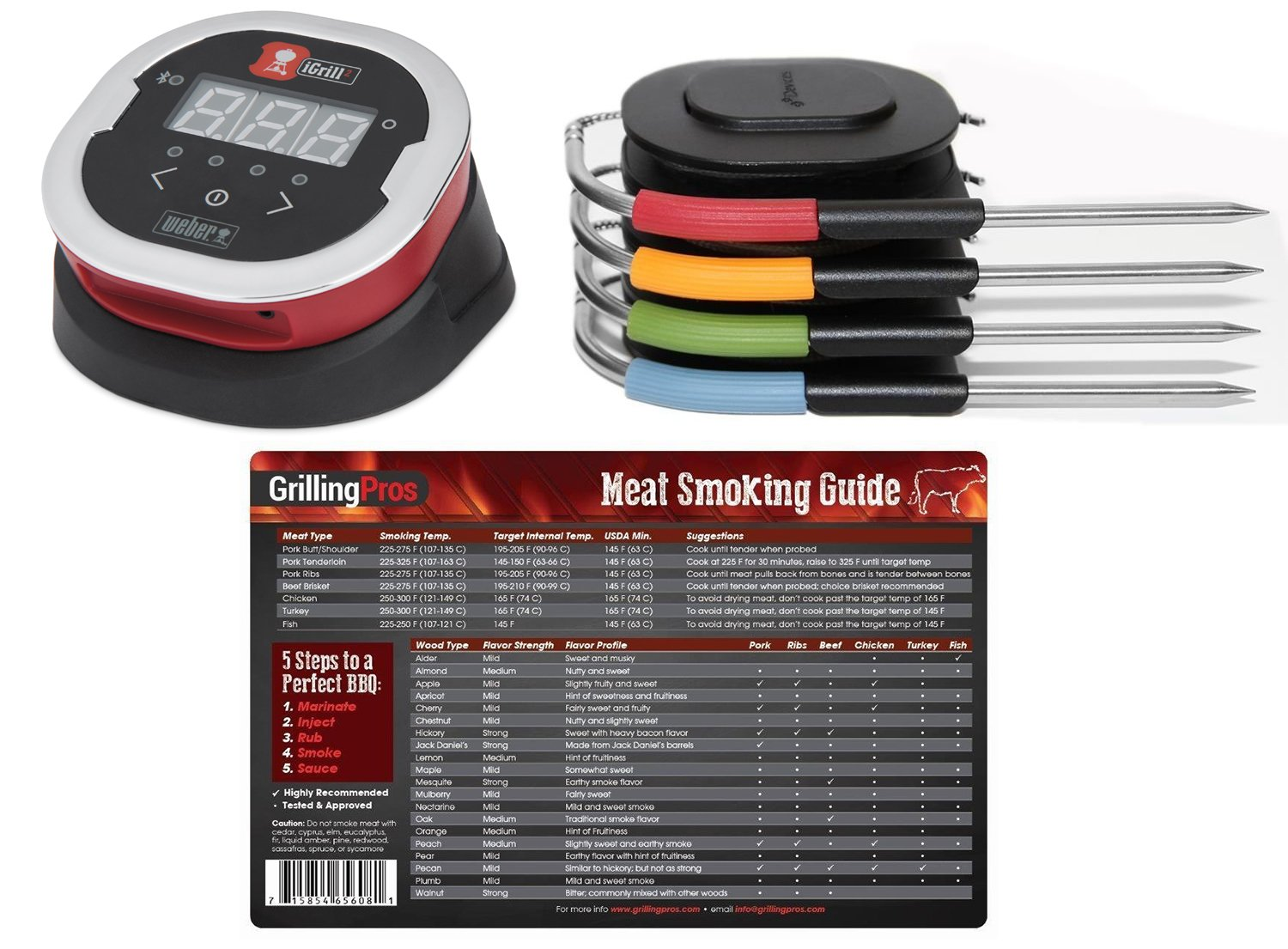 Weber iGrill 2 Thermometer With 4 Pro Meat Probes and GrillingPros Meat Smoking Guide Magnet by GrillingPros