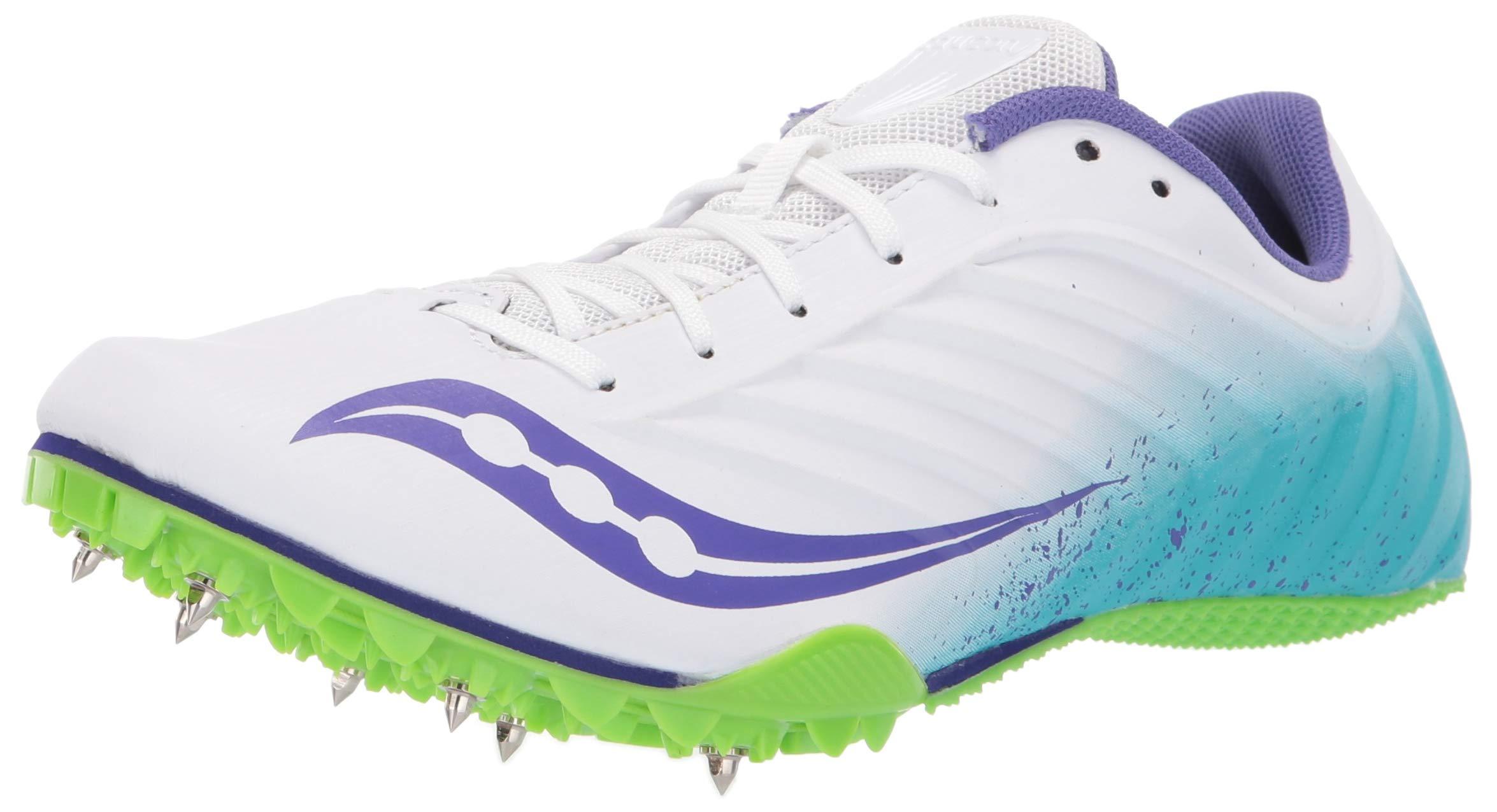Saucony Women's Spitfire 5 Track Shoe White/Blue 5 Medium US