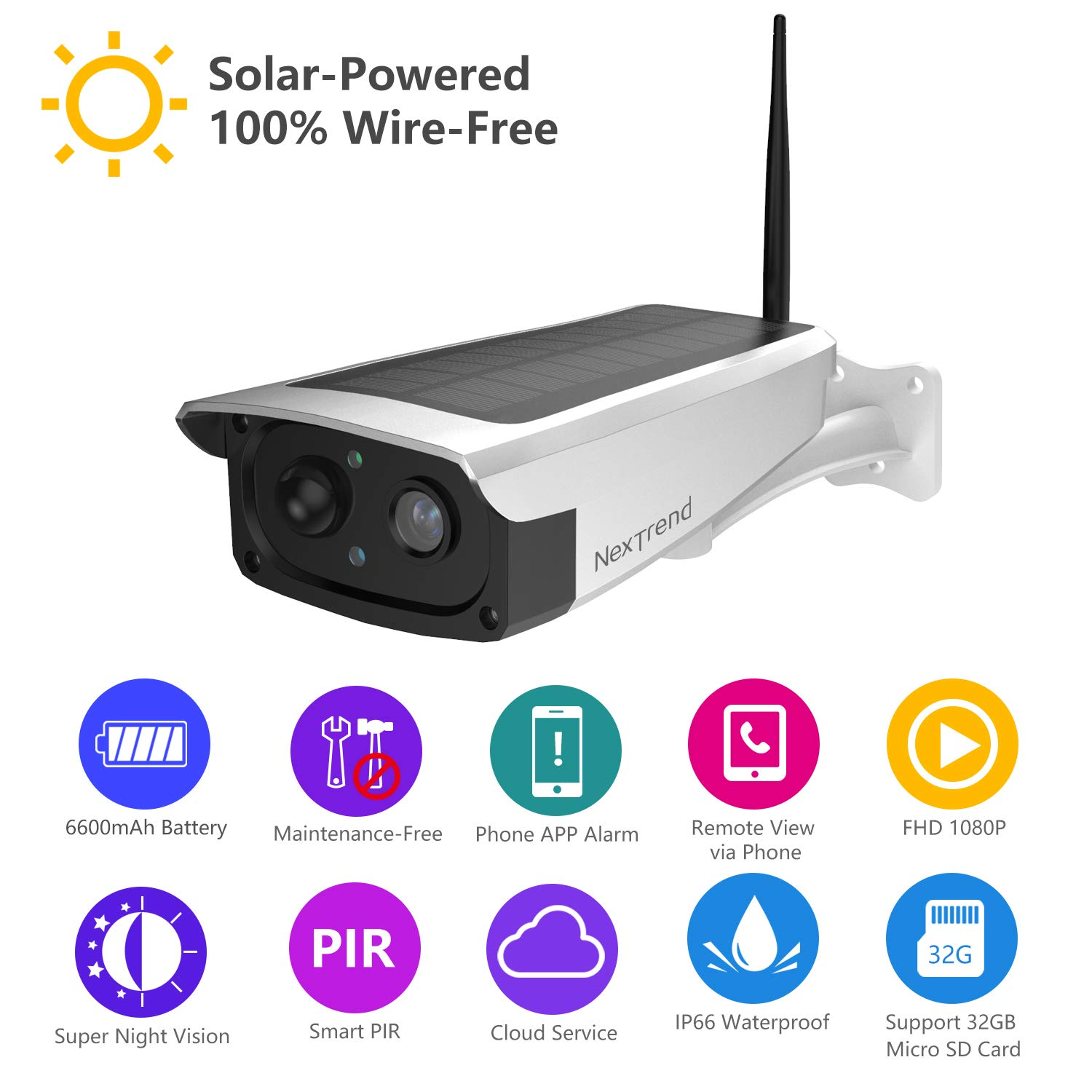 Solar Powered Outdoor Battery Security Camera, NexTrend 1080P Home Wireless WiFi IP Cam w/Build-in 6600mAh Battery, PIR Alarm Alerts, Night Vision, Two-Way Audio, Support TF Card& Cloud Service by NexTrend