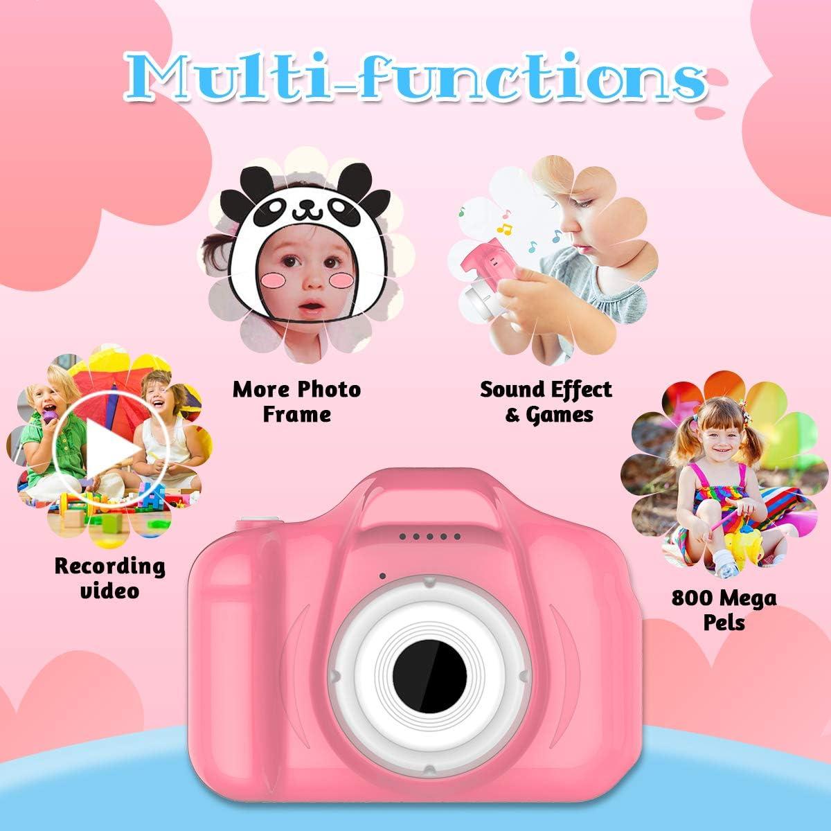 Jouets-3-6-Ans-Fille-YORKOO-Appareil-Photo-Enfant-HD1080P-Appareil-Photo-Rose miniature 2