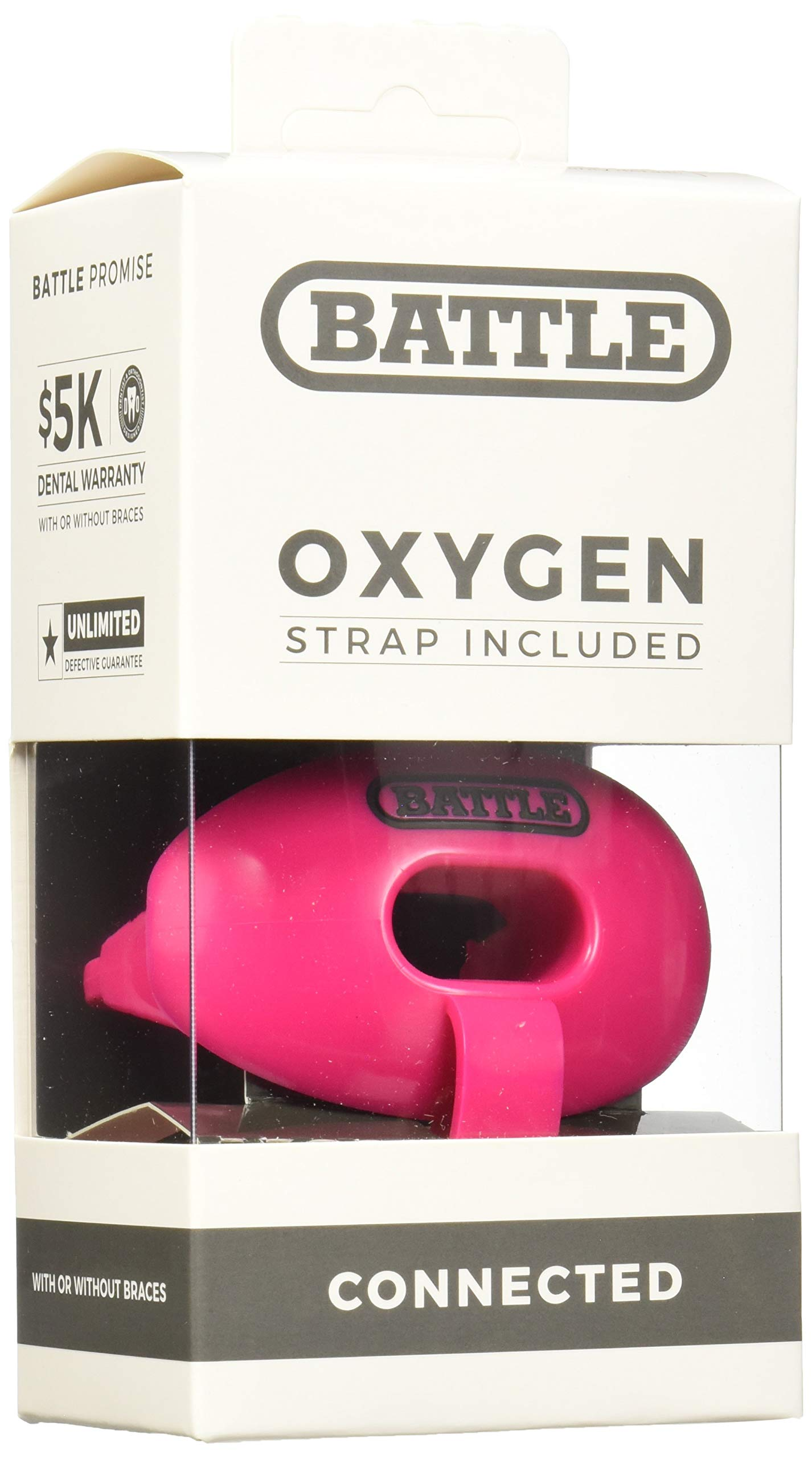 Battle Oxygen Lip Protector Mouthguard with Connected Strap - Football and Sports Mouth Guard - Maximum Oxygen Supply - Mouthpiece Fits With or Without Braces - Impact Shield Covers Lips and Teeth by Battle