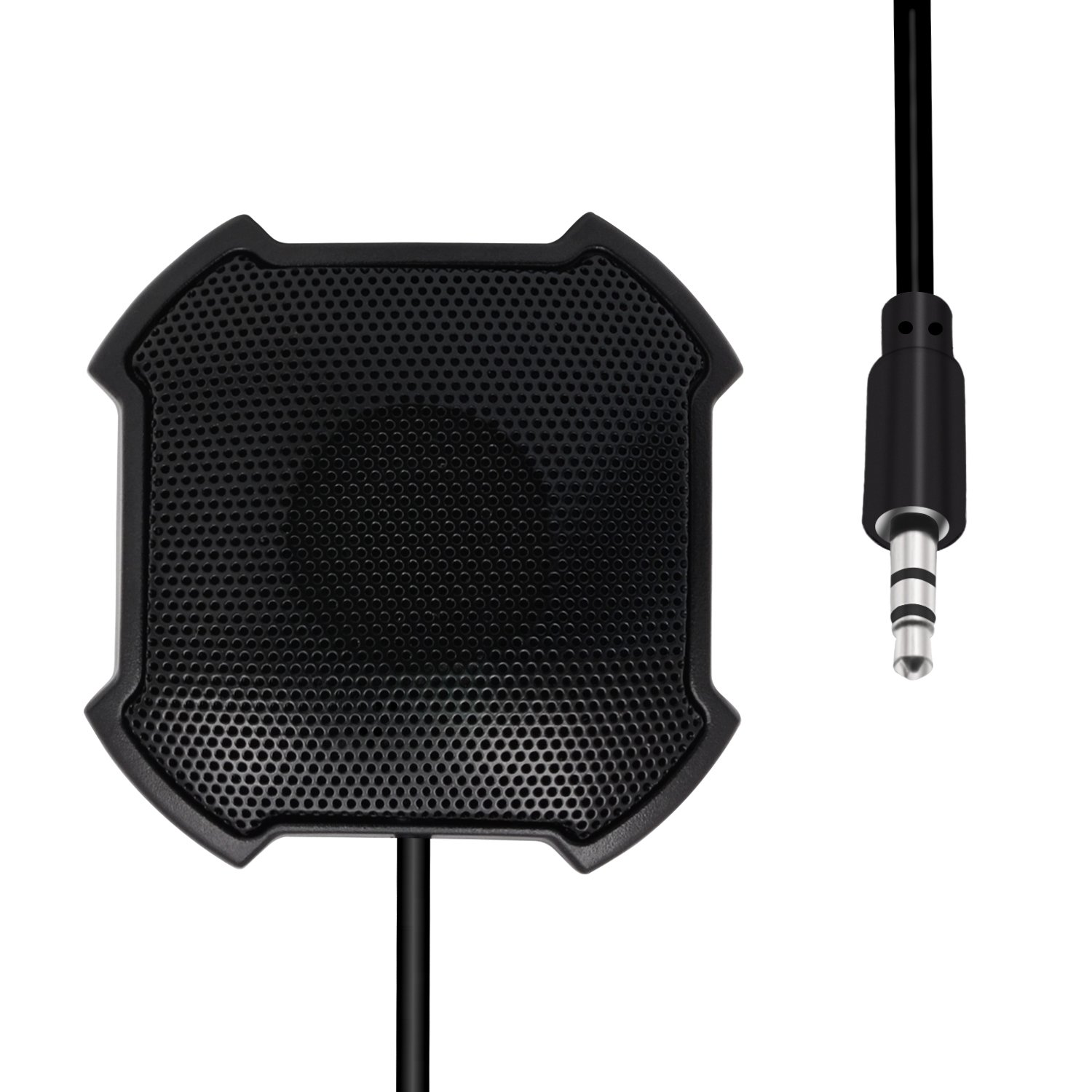 Conference Microphone, LEFON Omnidirectional Condenser Boundary Microphone, 3.5mm Plug Table Top Mic Mini Stereo Desktop Meeting Computer PC Microphone for Skype and Other VoIP Calls, Black