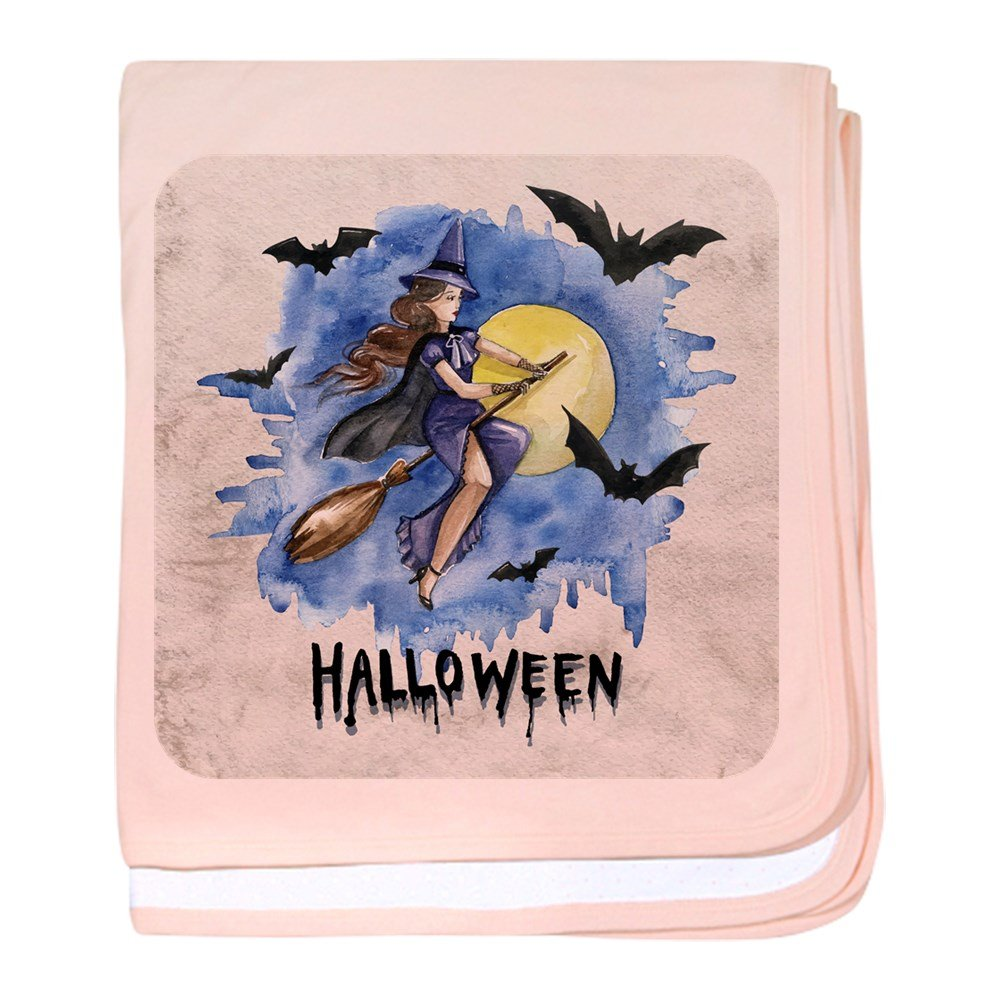 Royal Lion Baby Blanket Halloween Witch Riding Broom Bats - Petal Pink