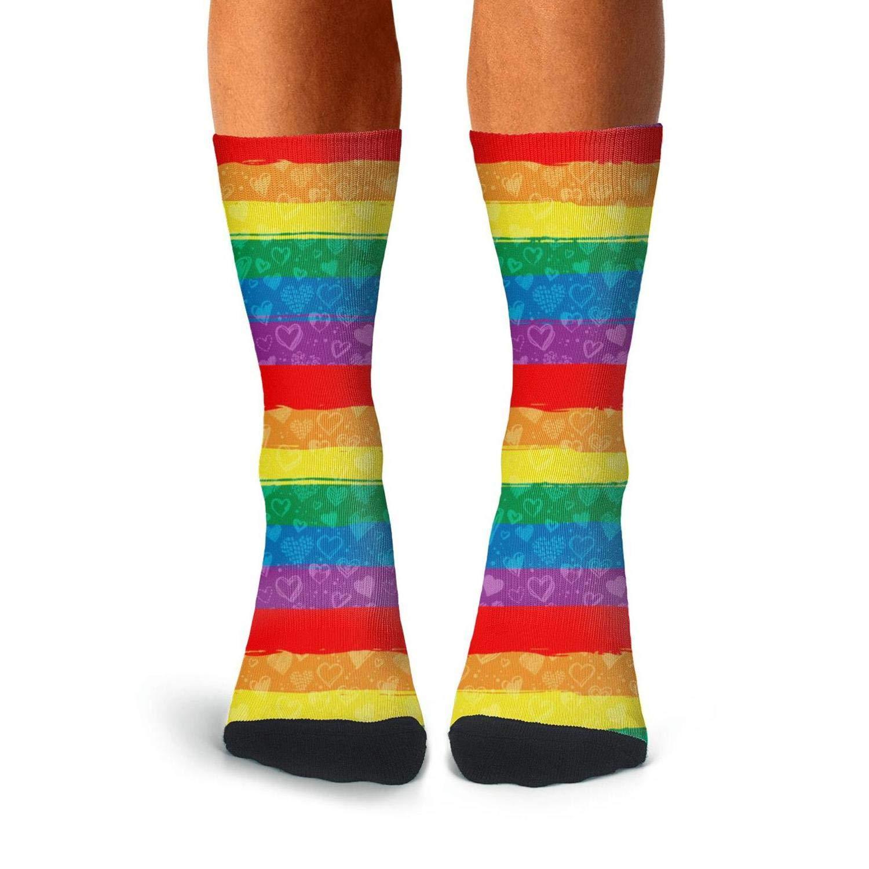 Smsdpmc Gay Pride Rainbow Flag Poster Thin High Ankle Mens Socks Printed Lightweight Socks