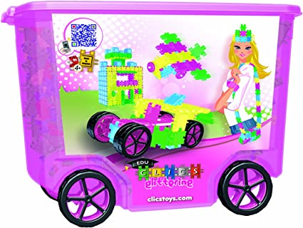 400 Pieces Clics Glitter Rollerbox Building Toy