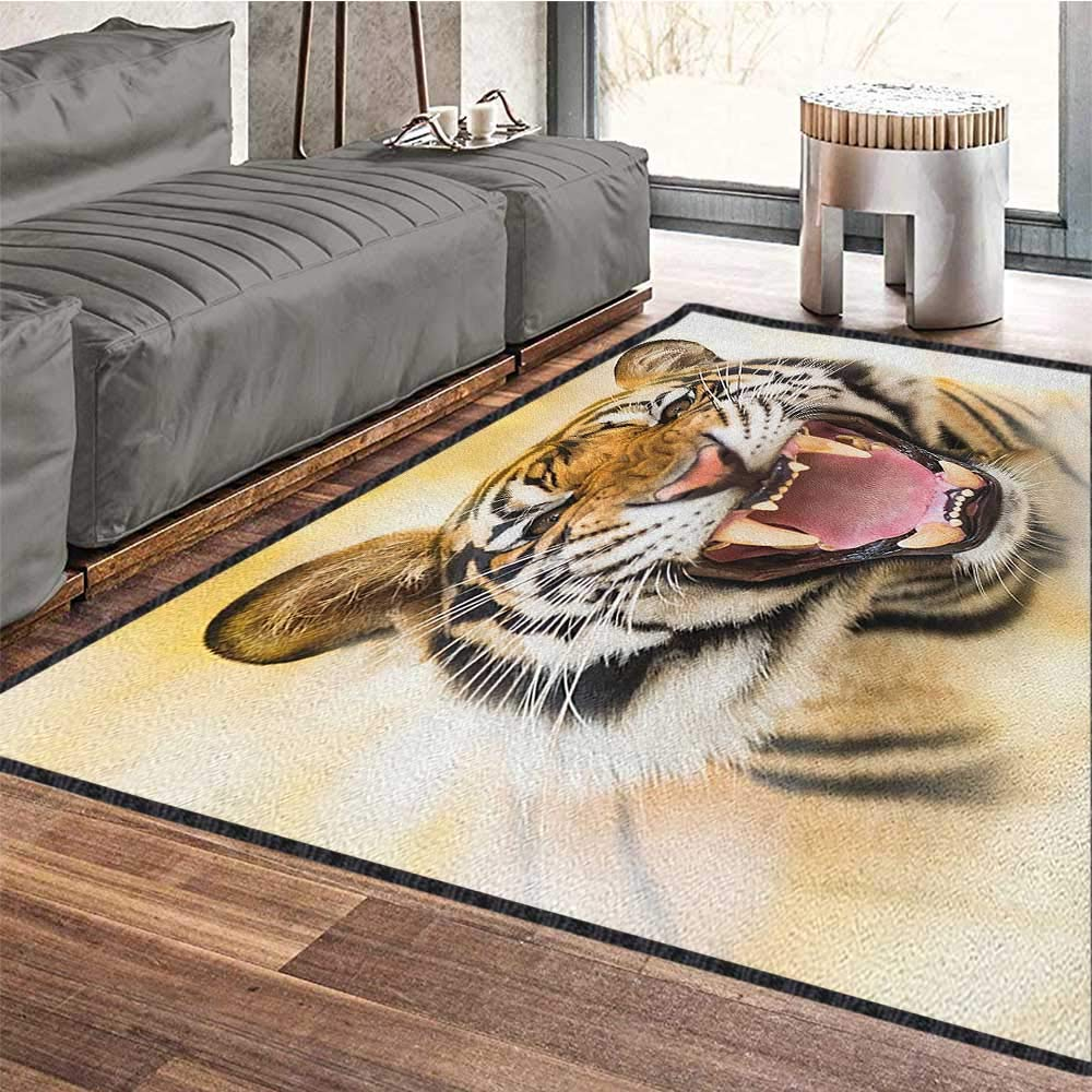 Tiger Decor Area Rug,Young Panthera Tigris Altaica Growling in Angry Manner Portrait of a Young Large Cat Suitable for Bedroom Home Decor Multicolor 79''x118'' by Philip C. Williams