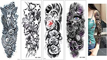 4 hojas Tatuajes Negro Líneas Tatuajes Muelle Flores Mandala ...