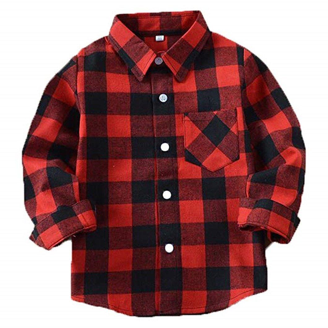 SERAIALDA Baby Boys Girls Button Down Plaid Flannel Long Sleeve Shirt(2T-7T)