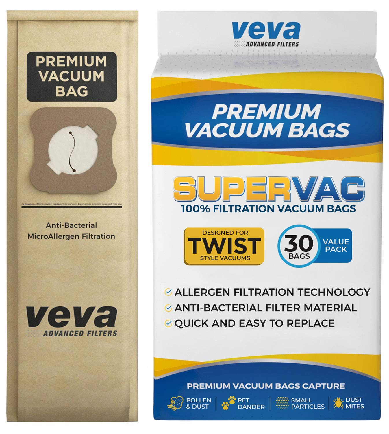 VEVA 30 Pack Premium SuperVAC Vacuum Bags Style G Paper Bag Compatible Kirby Micron Magic Twist Replacement Type G, Heritage II, Legend II, Ultimate G & Diamond; G3, G4, G5, G6, G7, Gsix