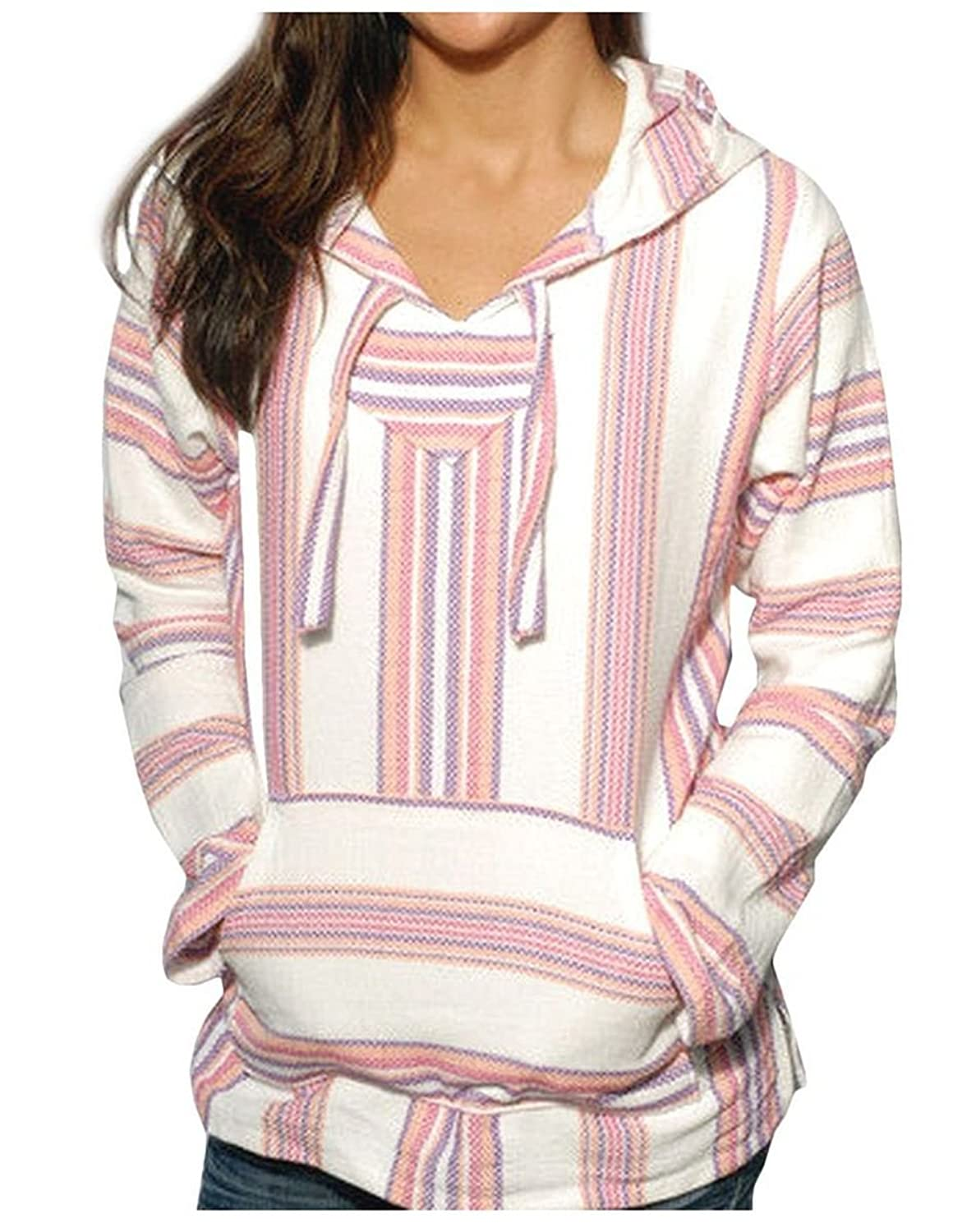 Mexican Womens Baja Hoodie Sweater Jerga Pullover Pink Purple ...