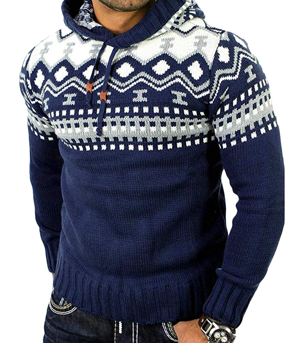 YYear Mens Fashion Color Block Print Hooded Knit Pullover Sweater