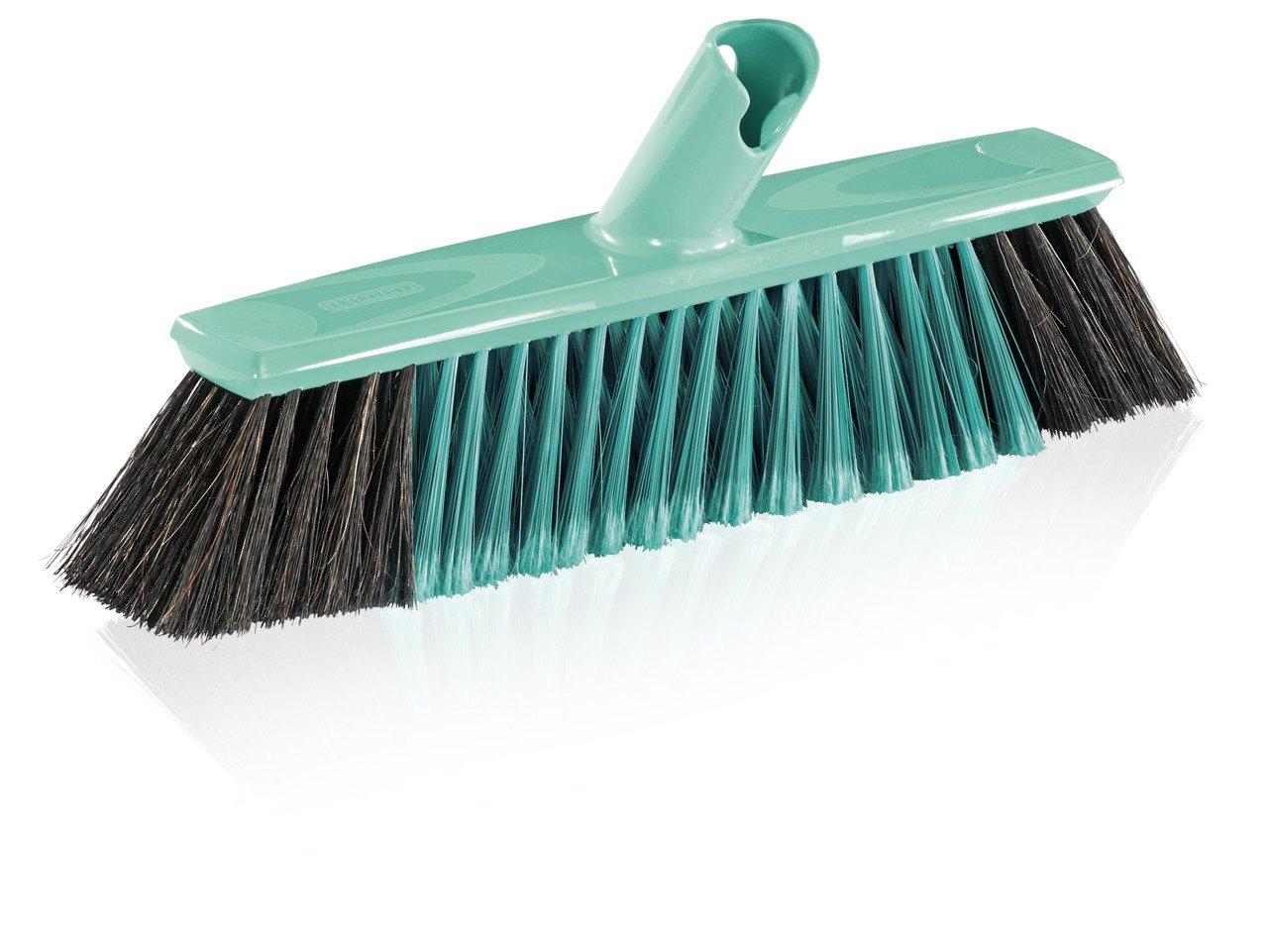 Leifheit Allround Broom Xtra Clean 40 cm, Natural Hair, House Brush, Dustpan Brush, Mint Green, 45031