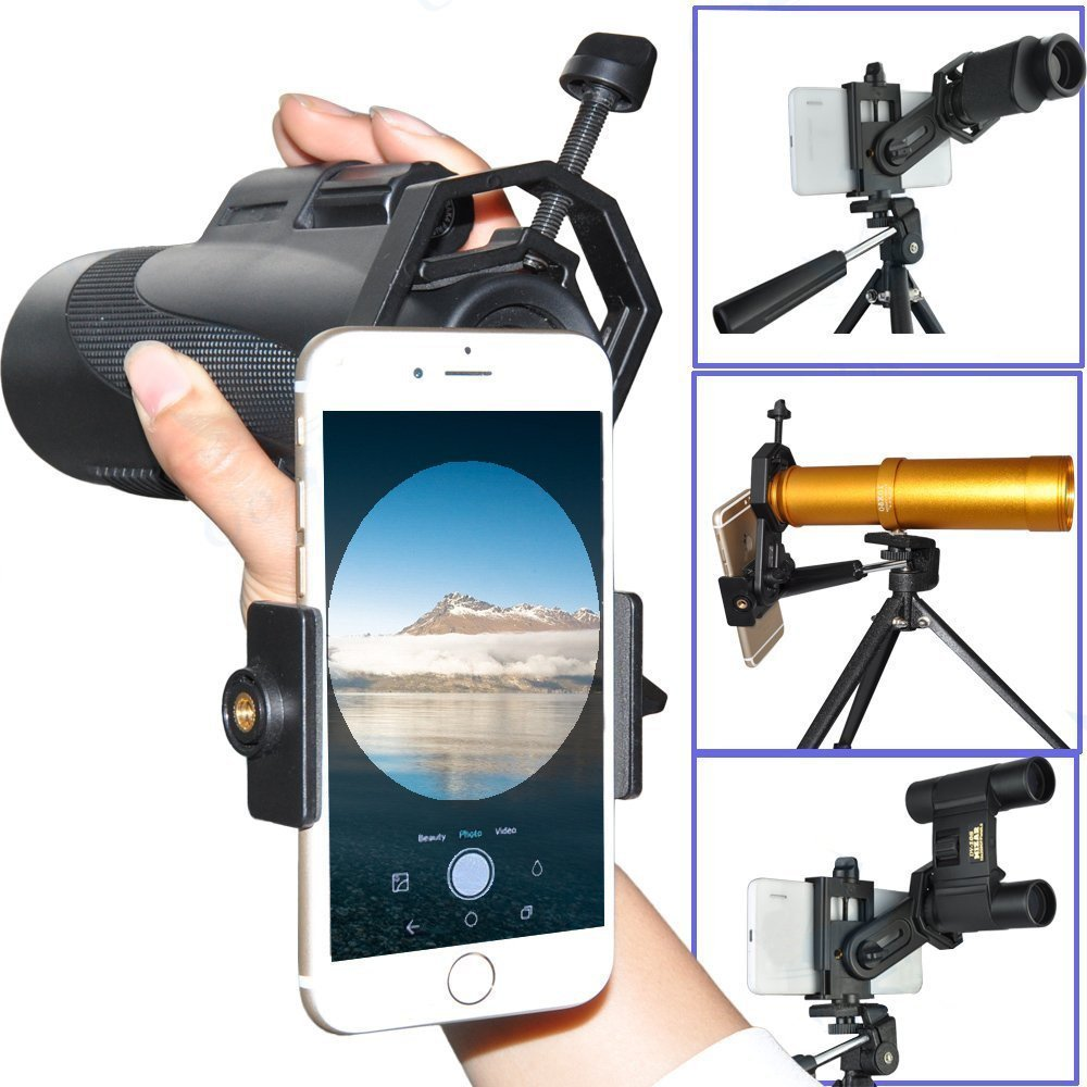 Megadream Cellphone Telescope Adapter Mount, Compatible with Binocular Monocular Spotting Scope Microscope for Universal iPhone X 8 Plus 8 7 Samsung Galaxy S8 Edge S7 Note LG HTC Sony -3.5 inch Width