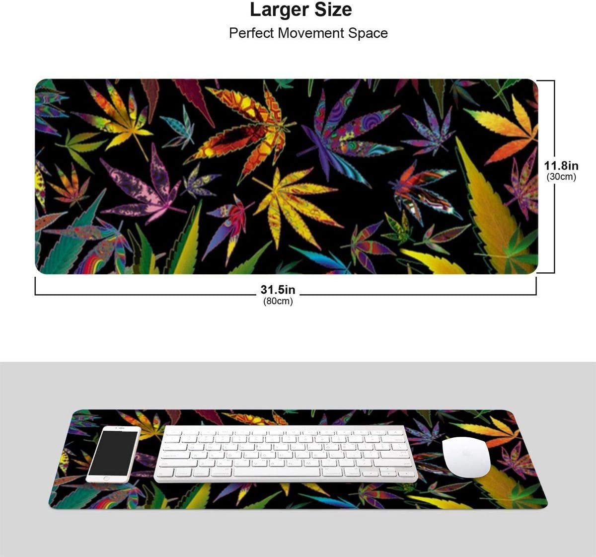 Trippy Multi Pot Leaves Mousepad Non-Slip Rubber Gaming Mouse Pad Mouse Pads for Computers Laptop 11.8 X 31.5 in