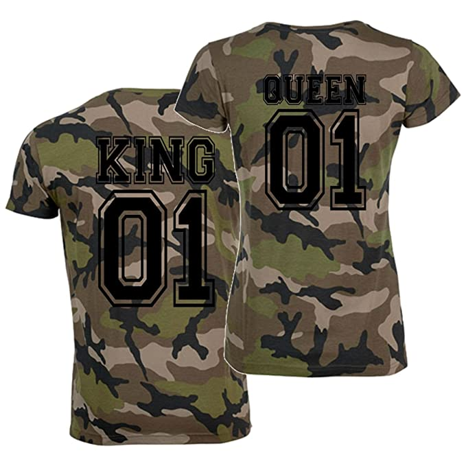 CrazyShirt T-Shirt-Set King und Queen Partner-Shirts Camo 2 Shirts:  Amazon.de: Bekleidung