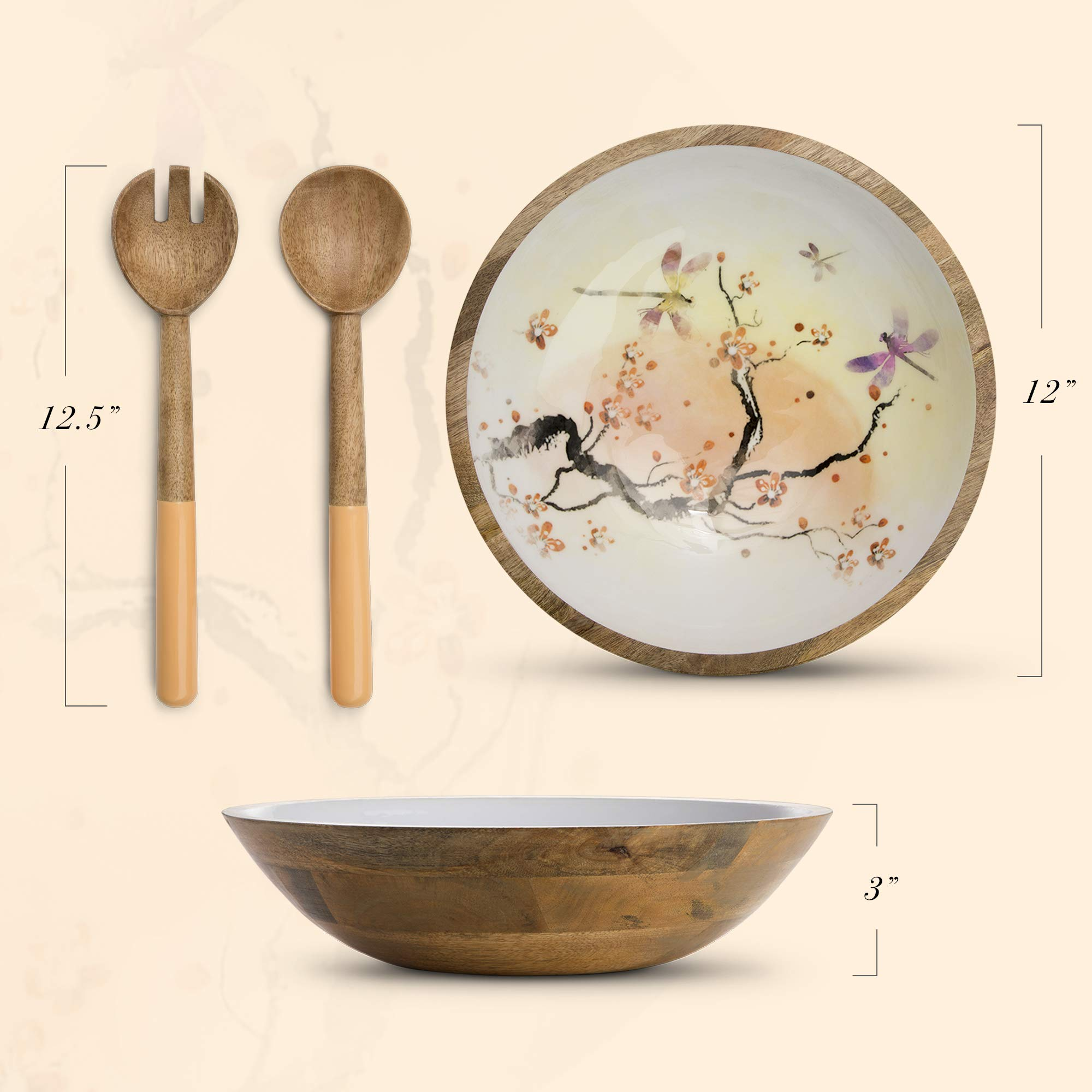 Wood Salad Bowl Set with Servers - Large 12 Inch Round Mango Wood Serving Bowl with Spoons for Soups, Fruit, Pasta, Caesar, Tossed, and Mixed Salads | Natural Mango Wood Serving Bowl Set by ELEETS COLLECTION (Image #5)