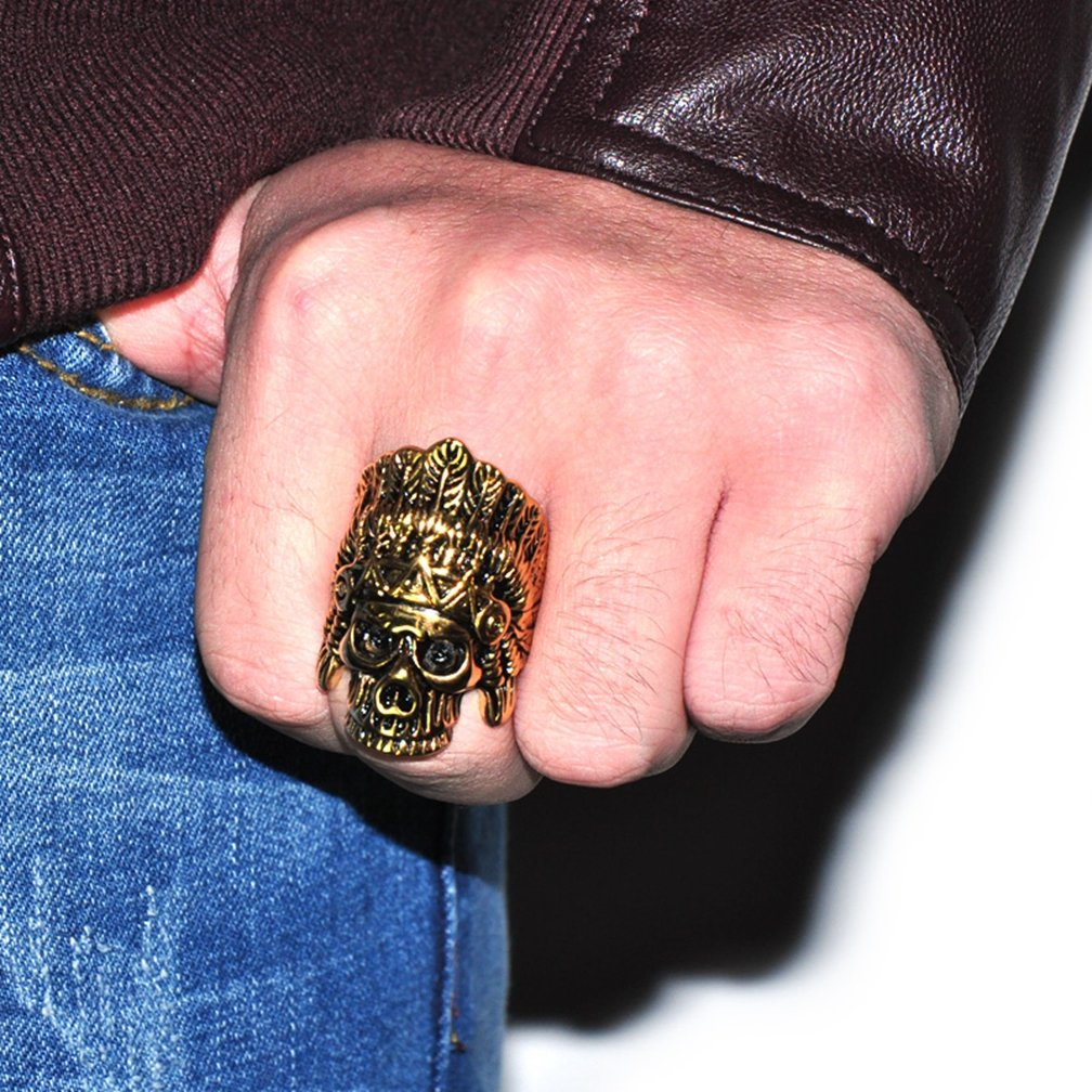 SAINTHERO Men's Vintage Stainless Steel Band Rings Gothic Indian Chief Skull Hip-hop Jewelry Punk Biker Rings Gold Black 12 by SAINTHERO (Image #4)