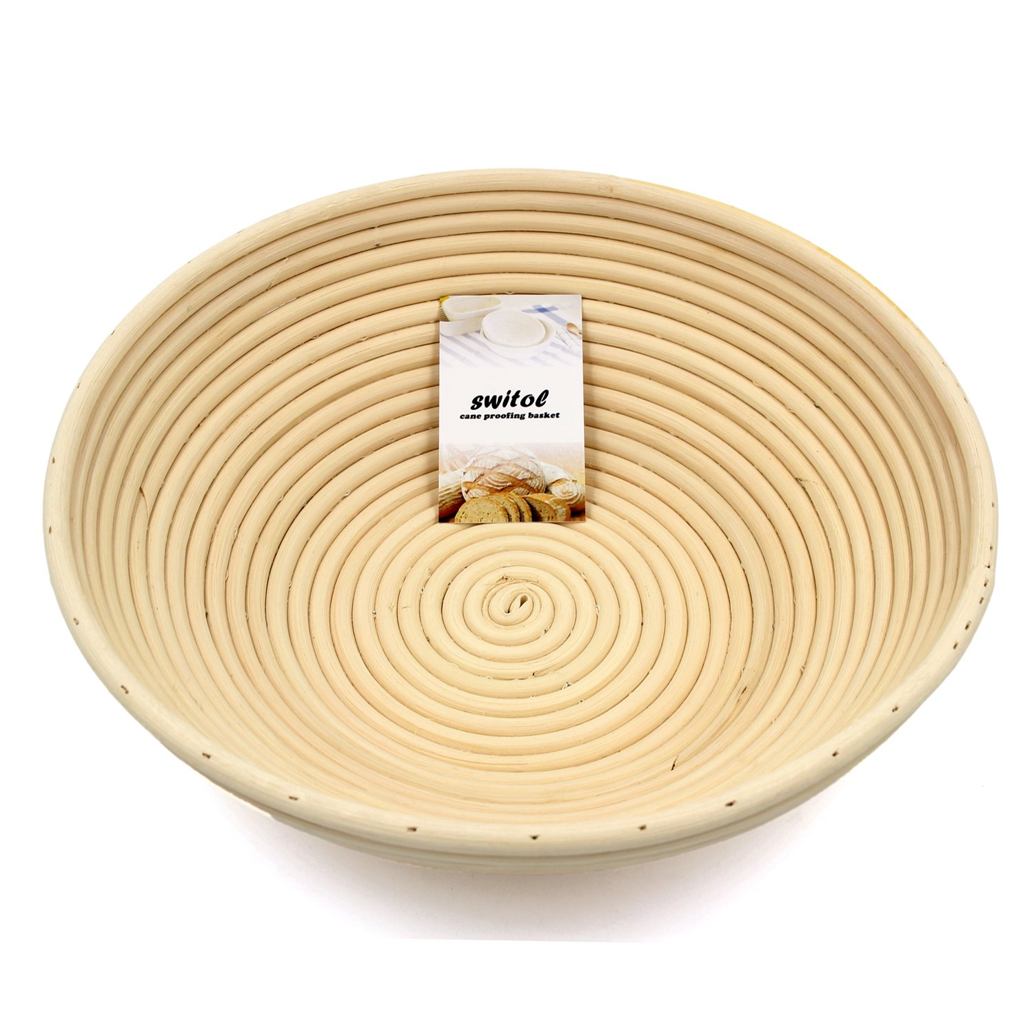 Switol 12 inch Banneton Proofing Basket, Hand-Made Dough Basket Made from Cane