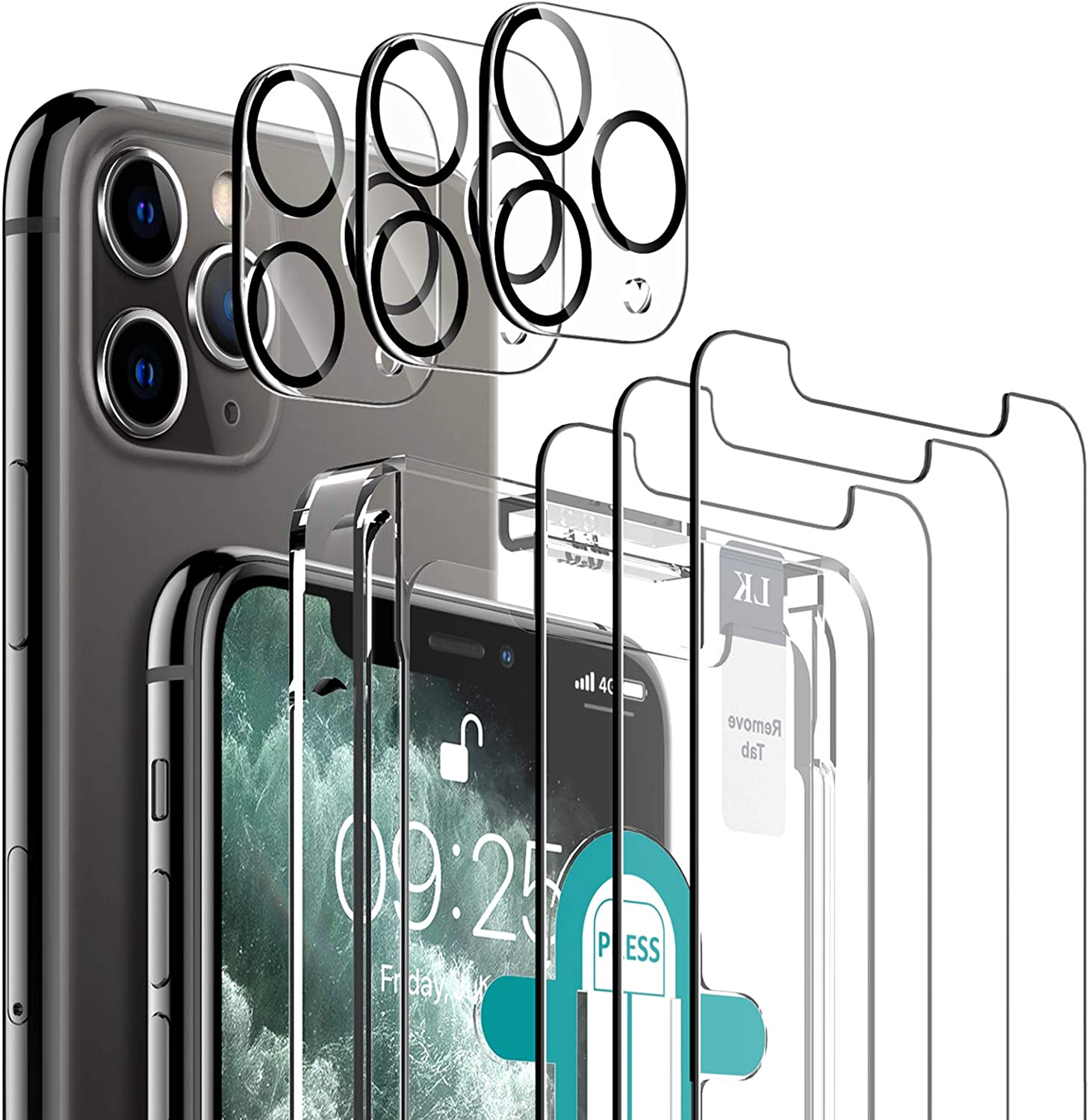 6 Pack LK 3 Pack Screen Protector with 3 Pack Camera Lens Protector Compatiblewith iPhone 11 Pro Max 6.5-inch, Tempered Glass, Case Friendly, Easy-Installation Tool, HD Clear 9H Hardness