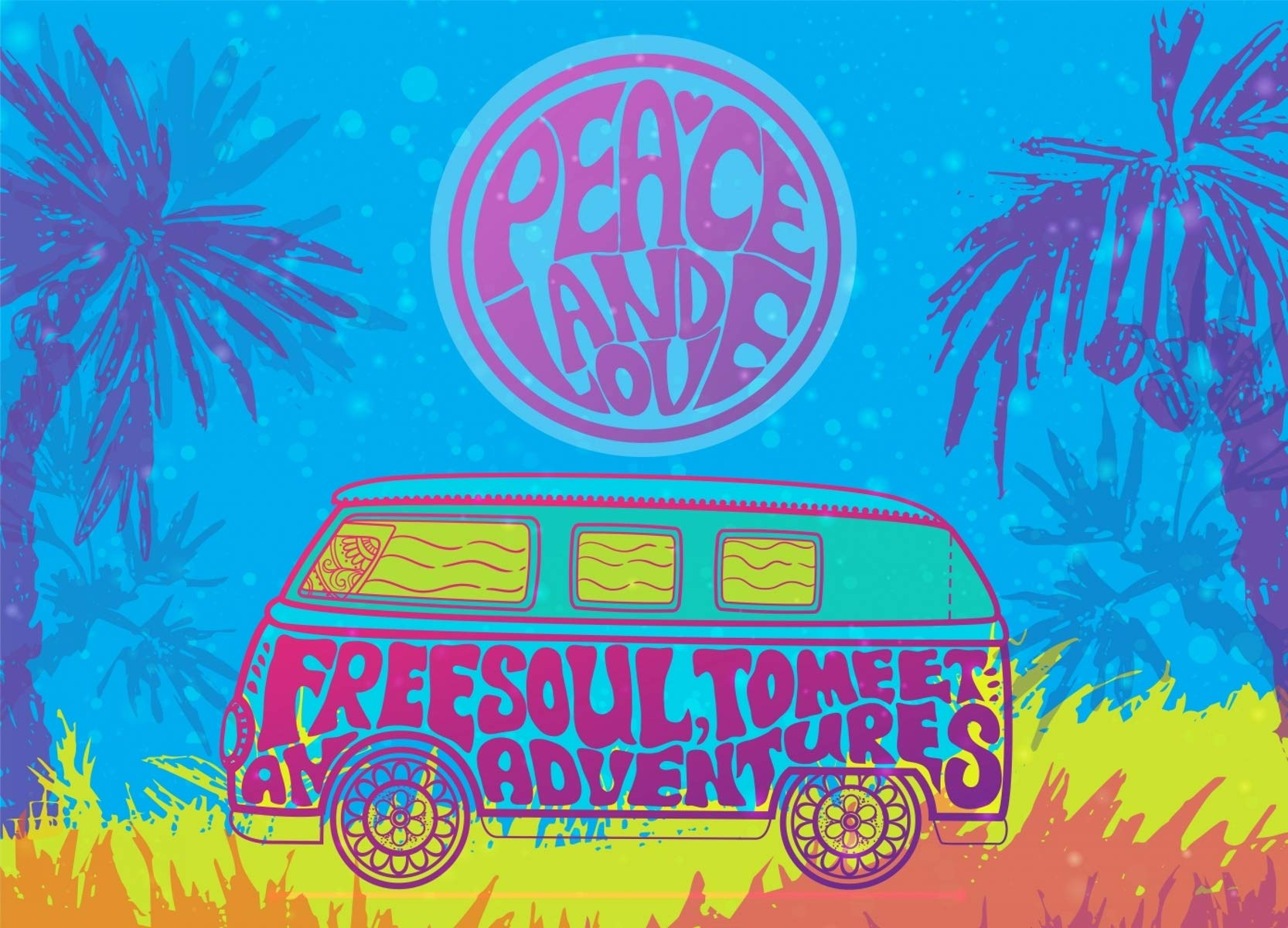 ERIC 8x6ft Retro 1960s 70s 80s Hippie Vintage Car Minivan with Tropical Palm Hand-Written Fonts Graffiti Themed Party Decorations Photo Booth Studio Props