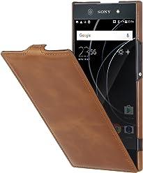 StilGut UltraSlim Case, custodia flip case in vera pelle per Sony Xperia XA1 Ultra, cognac