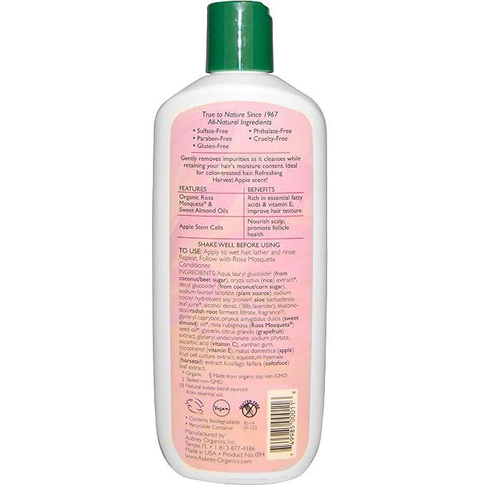 Aubrey Organics Rosa Mosqueta Shampoo Vibrant hidratación para todo tipo de cabello con aceite de semillas de rosa mosqueta y Apple Células Madre, ...