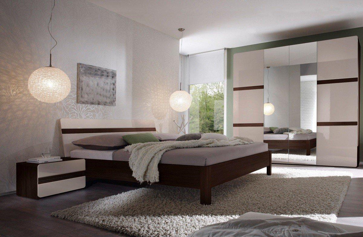 Dreams4Home Schlafzimmer Set 'Ora' - Kleiderschrank,Schrank,2 Spiegeltüren,2 Holztüren,2xNaKo´s,Bett 180x 200 cm,1 Kleiderstange,5 Einlegeböden,ohne Matratzen,ohne Lattenrost,Sonoma Eiche dunkel/Hochglanz hellgrau