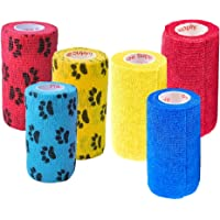 Prairie Horse Supply 4 Inch Vet Wrap Tape Bulk (Yellow, Red, Blue and Black Paw Prints on Yellow, Red, Blue) (Pack of 6) Self Adhesive Adherent Adhering Flex Bandage Rap Grip Roll for Dog Cat Pet