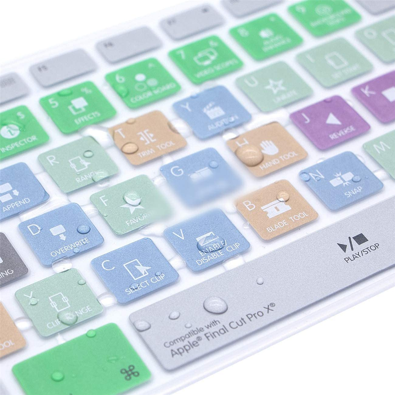 Final Cut Pro X Hot Keys Design Keyboard Cover Skin for Keyboard with Numeric Keypad Wired USB for iMac G6 Desktop Pc Wired