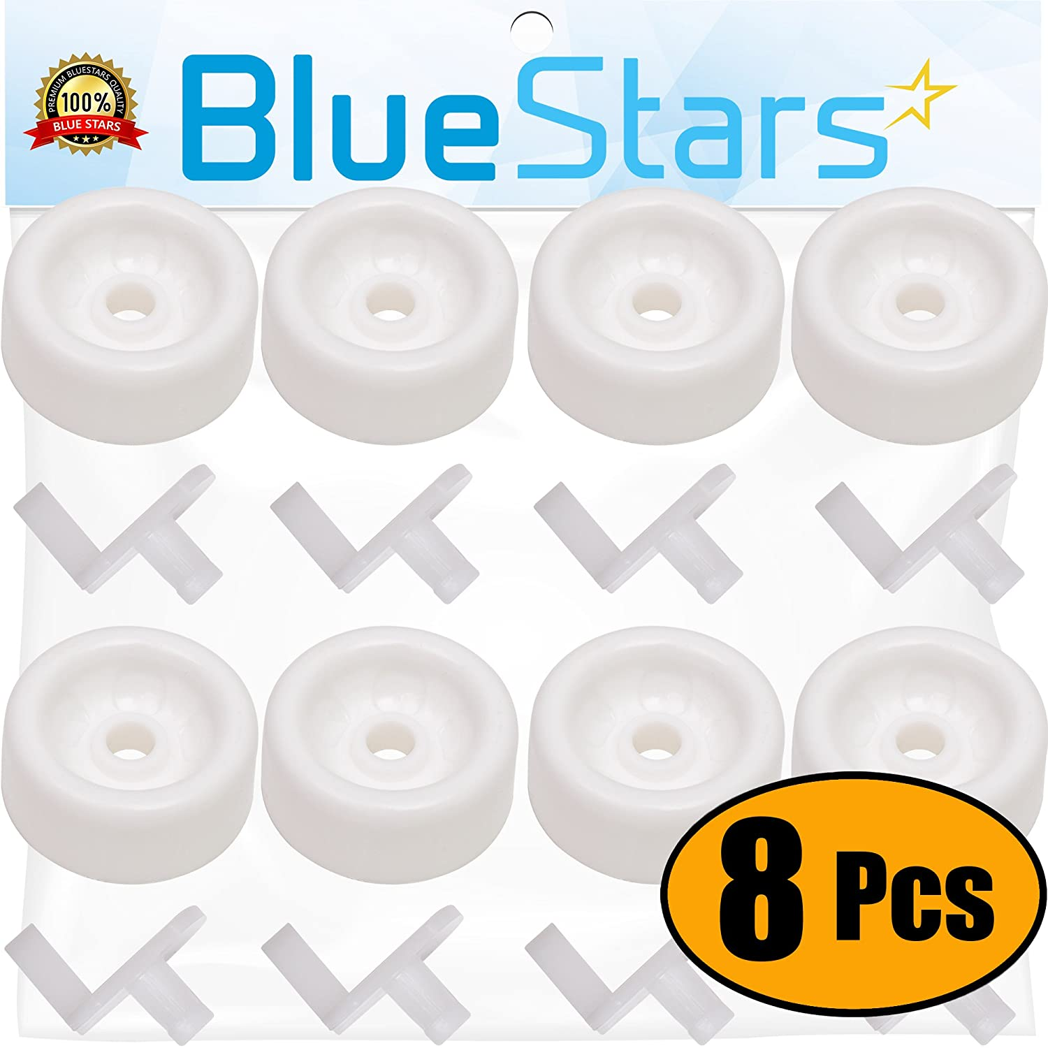 Ultra Durable WD12X271 Dishwasher Wheels Lower Dishrack Roller Kit by Blue Stars- Exact Fit for General Electric Kenmore Hotpoint Dishwasher- Pack Of 8
