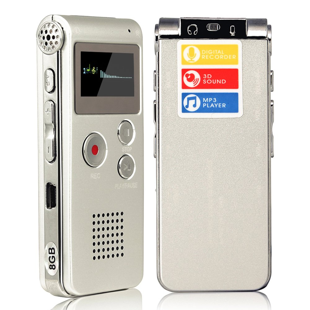 ACEE DEAL Digital Audio Voice Recorder with Mini USB Port, 8GB Memory, Voice Activated, Multifunctional MP3 Music Player & Dictaphone with Built-In Speaker, Including Cables and Earphones (Silver)