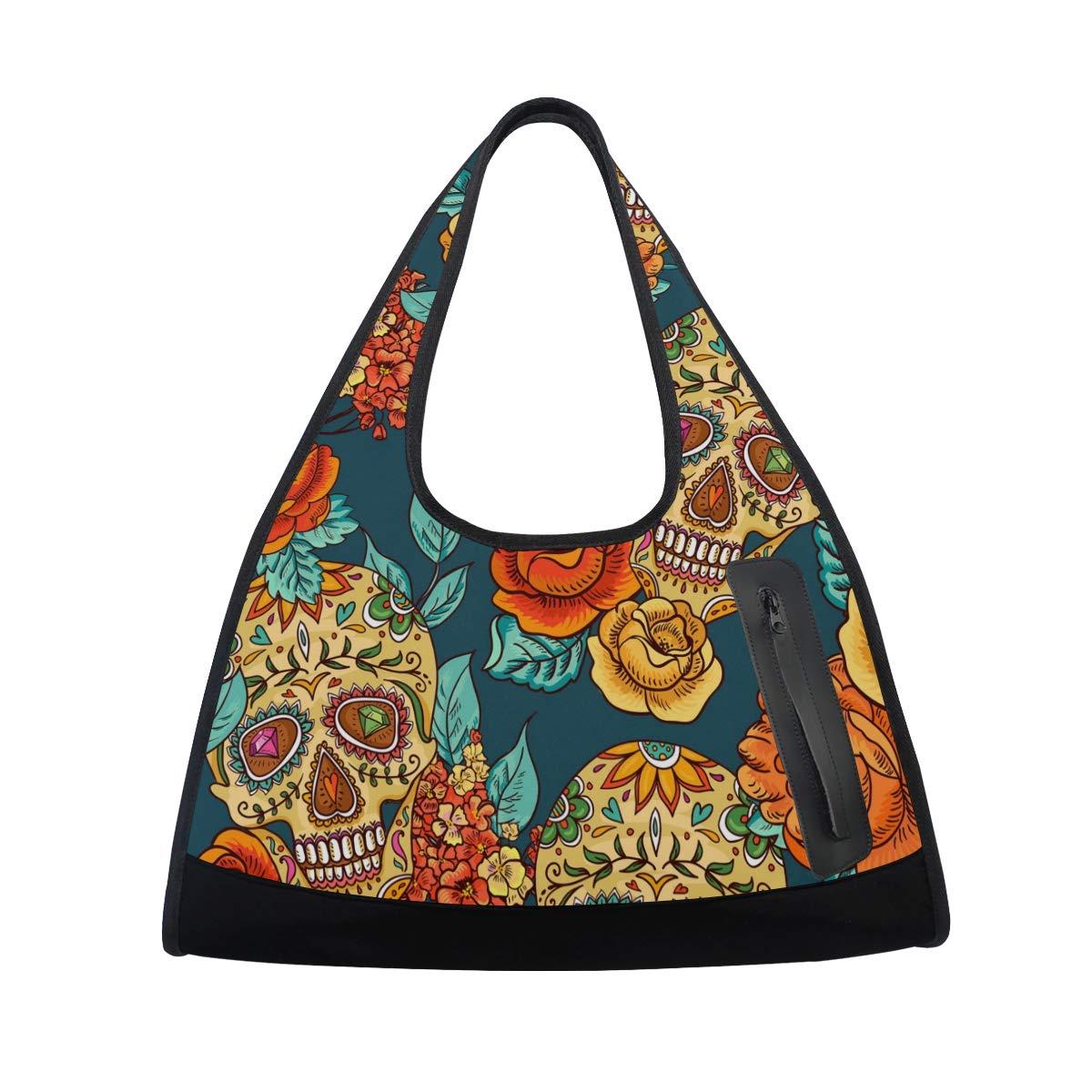 Floral Sugar Skull Women Sports Gym Totes Bag Multi-Function Nylon Travel Shoulder Bag