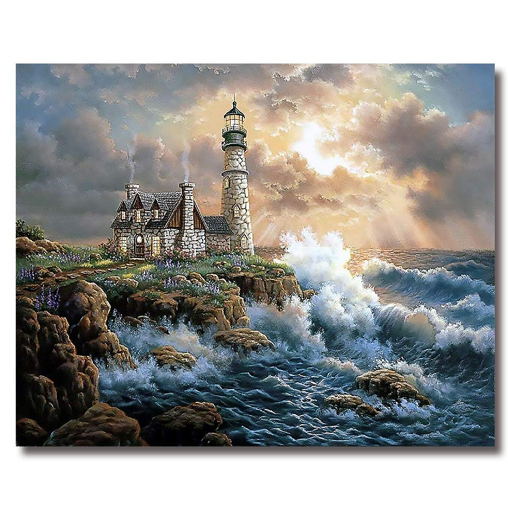 LIUDAO Oil Painting on Canvas Light House Wall Decoration Paint by Number Kit 16x20 Inches Without Frame
