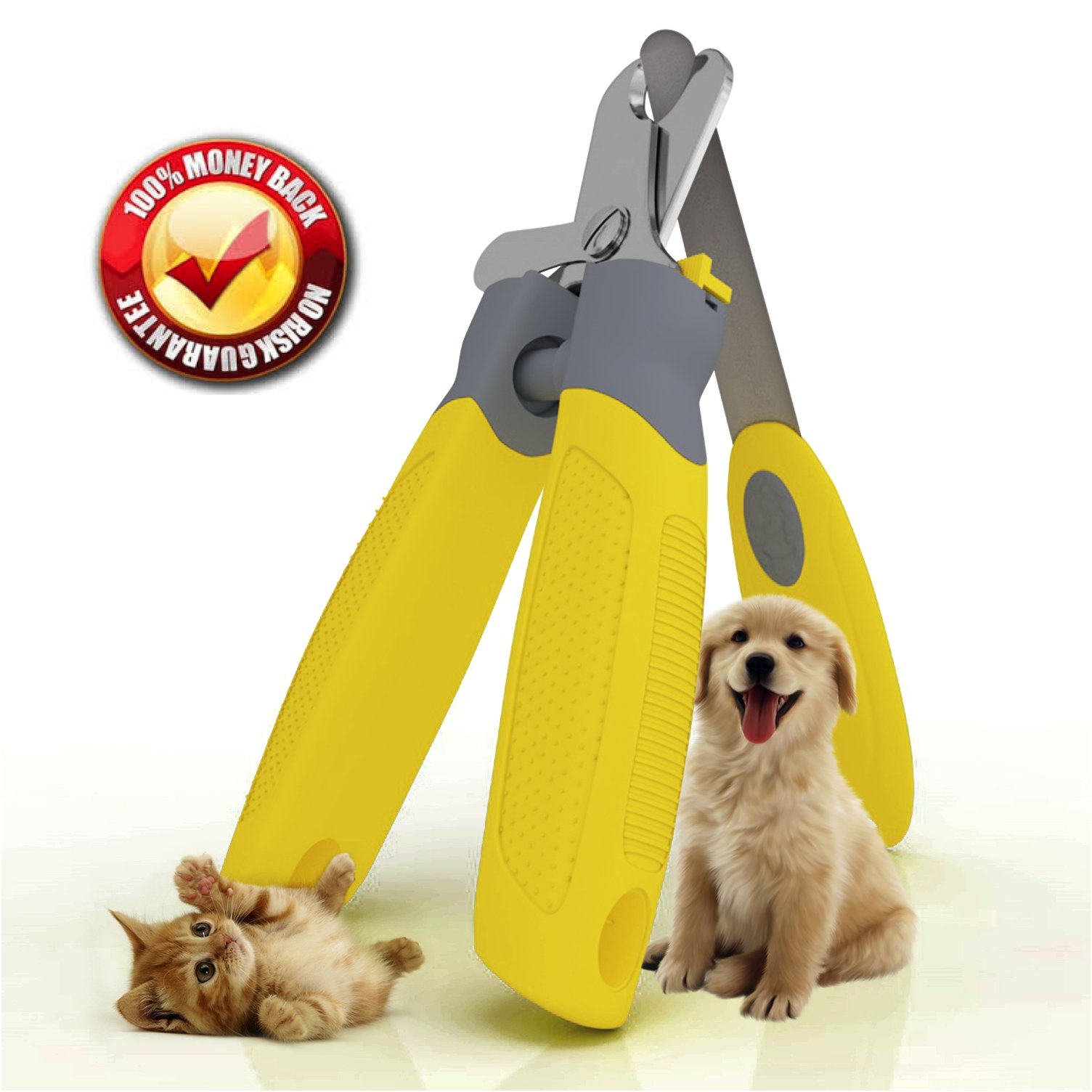 Trim-Pet Dog Nail Clippers ~ Professional Vet Quality ~ Razor Sharp Stainless Steel Blades With Safety Guard ~ Ergonomic Designed Handles For Easy Precise Cutting ~ Groom Small, Medium Or Large Dogs And Cats ~ Nail Trimmers Designed By Veterinarians ~ Tri